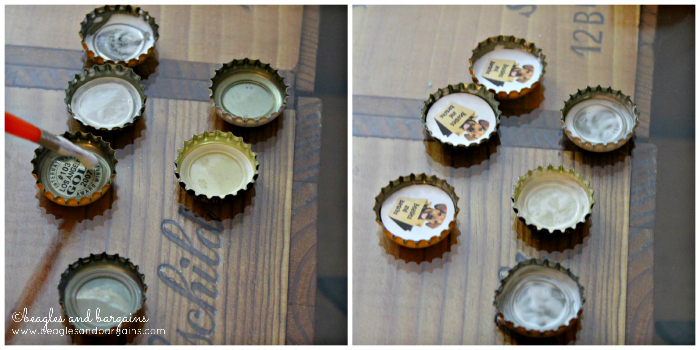 Paint Mod Podge and attach image to bottle cap.