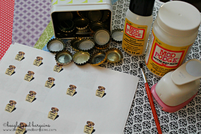 Supplies for DIY bottle cap magnets.