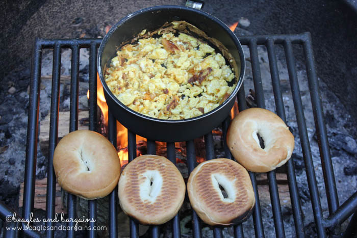 Egg sandwiches cooked on a campfire.