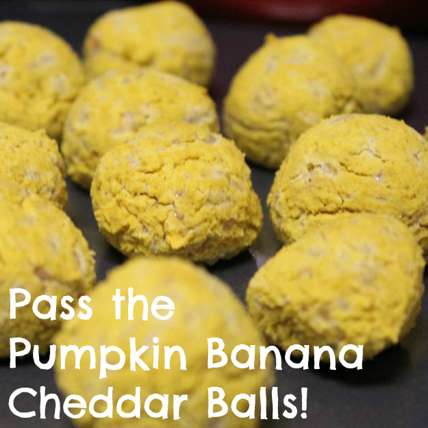 Pass the Pumpkin Banana Cheddar Balls!