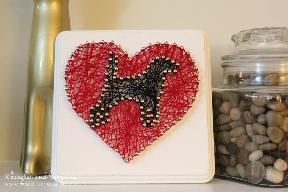 DIY Valentine's Day String Art with Dog Silhouette