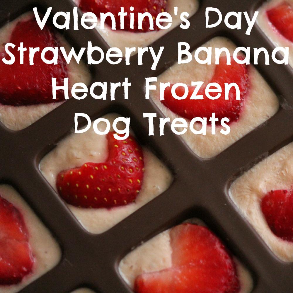 Valentine's Day Strawberry Banana Heart Frozen Dog Treats