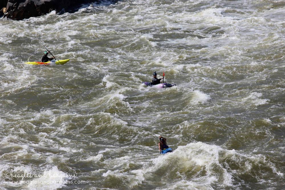 Kayakers going down Great Falls - Very dangerous!