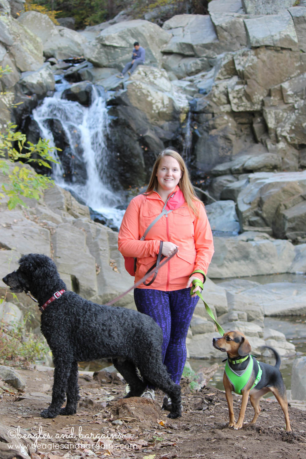 Jessica, Luna, and Cousin Keto at Scott's Run Waterfall.