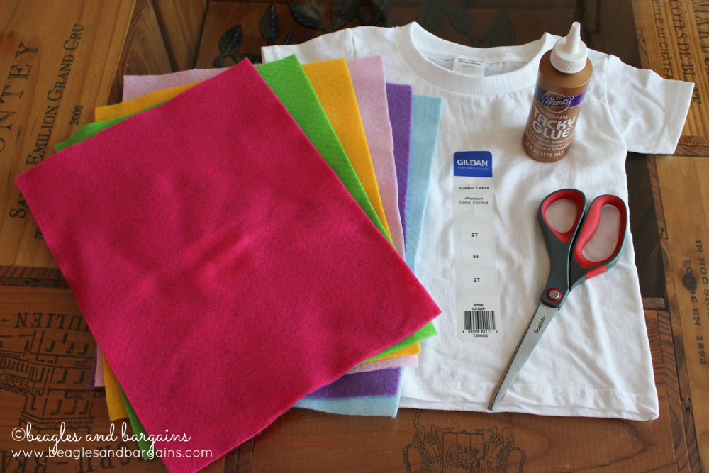 Supplies for an easy DIY Valentine Sweethearts Costume for Dogs