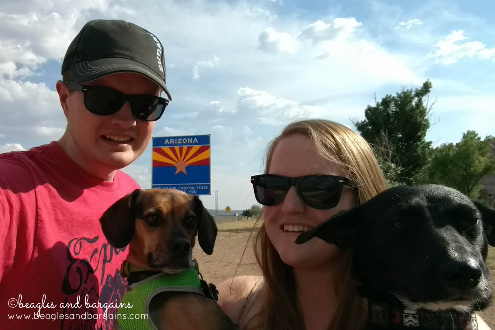 Selfies at the Arizona state sign - RoadTrippinBeagle