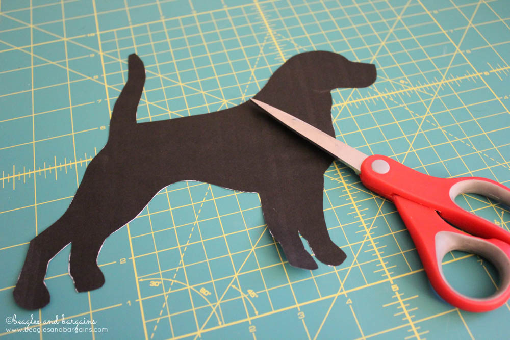 DIY Pet Inspired Button Art -  Step 1 - Cut out a dog silhouette image for a stencil