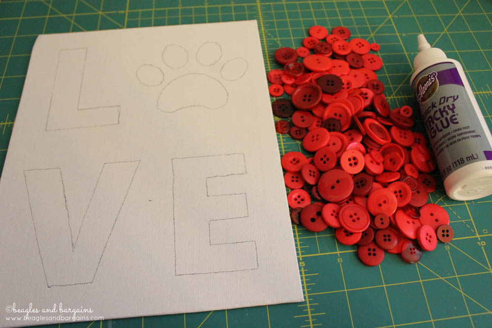 DIY Pet Inspired Button Art -  Step 3 - Spread out your assorted buttons before gluing