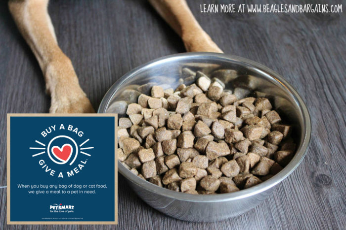 Buy a bag of dog or cat food from PetSmart.com or in PetSmart retail stores and give a meal to a pet in need. #fortheloveofpets