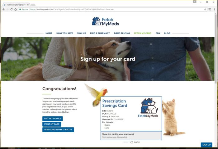 Fetch My Meds Discount Card for Pet Prescription Savings