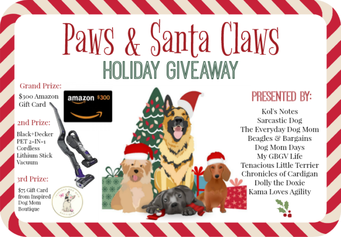 Paws & Santa Claws Holiday Giveaway | Pet Blogger Christmas Giveaway