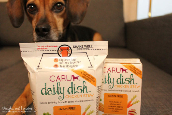 Luna with Caru Pet Food Daily Dish Stews in a Tetra Pak Carton