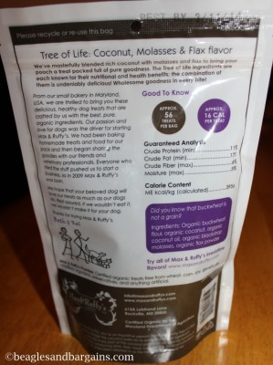 Caloric and nutritional information on Max & Ruffy's treats.