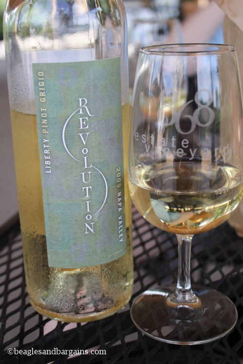 We enjoyed a chilled Pinot Grigio outside on the hot July day.