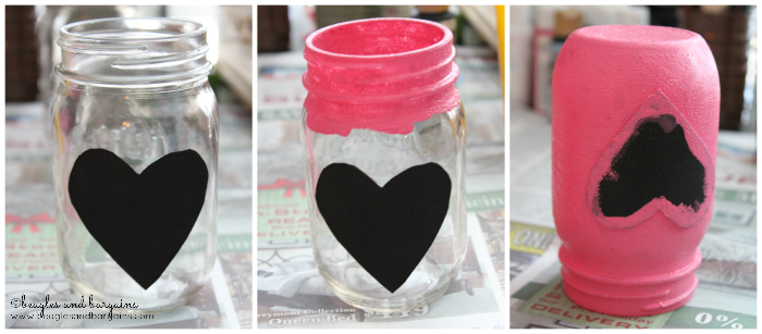 Heart cut out DIY dog treat jars for Valentine's Day