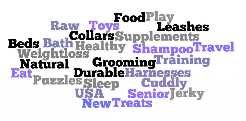 Words describing dog products for Global Pet Expo