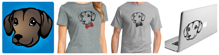 Stylish Canine's Luna inspired t-shirt and decal - Photo Courtesy of Jen deHaan.