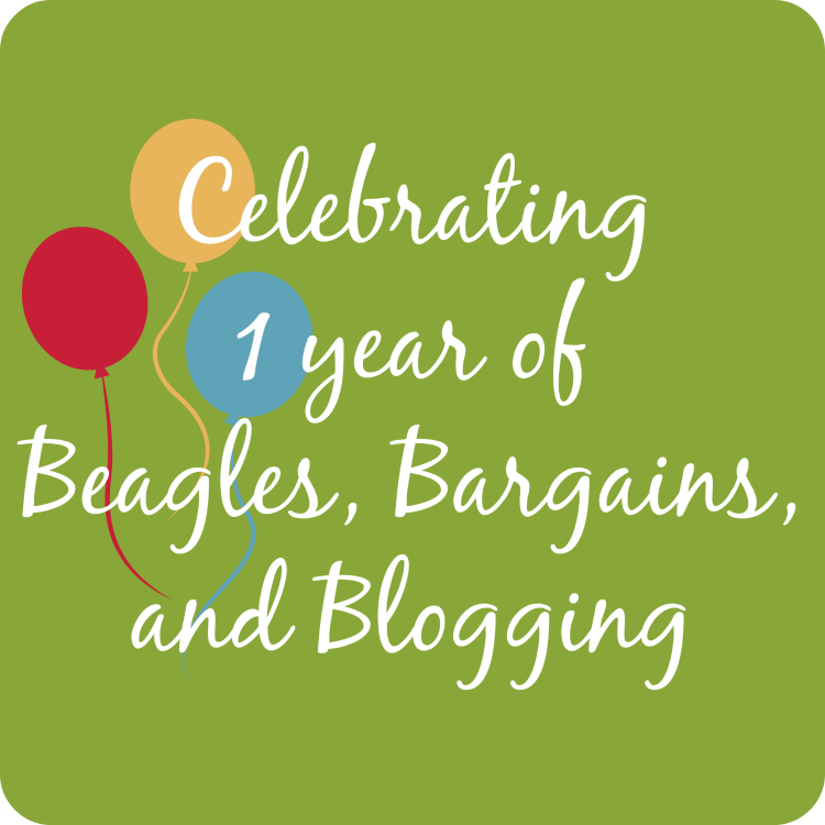 Celebrating 1 year of Beagles, Bargains, and Blogging