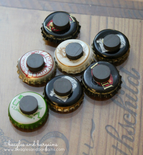 Attach magnets with Gorilla Glue for DIY Bottle Cap Magnets.