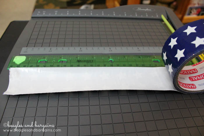 Measuring duct tape for bow tie - Step 1