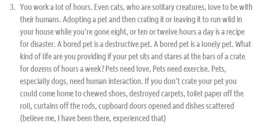 Snippet of original post about deserving pets