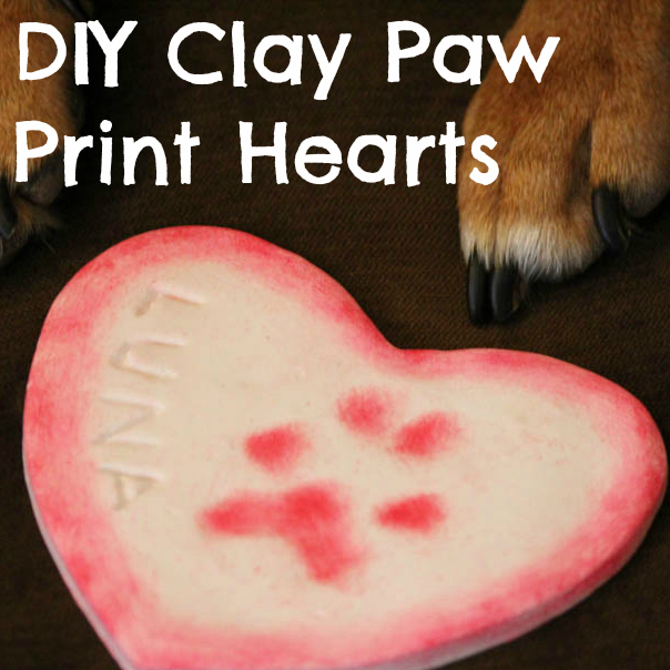 Valentine's Day DIY Clay Paw Print Hearts