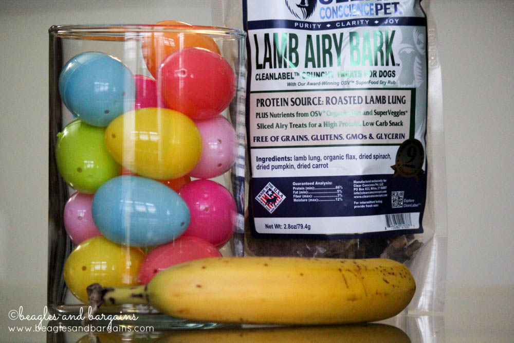 Supplies needed for an Easy Easter Egg Hunt for Dogs