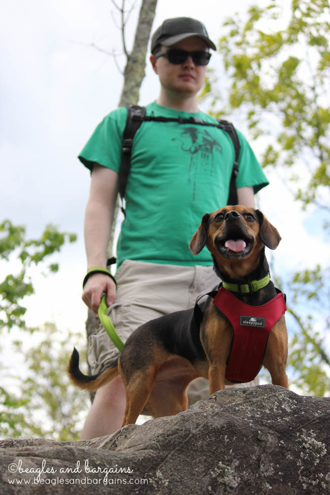 Luna and boyfriend on a hike at pet friendly Great Falls National Park