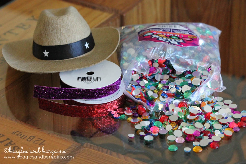 Supplies needed for a DIY Rhinestone Cowboy Hat for Dogs