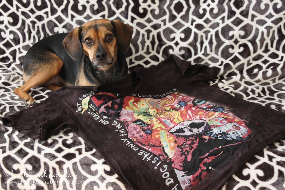 Luna and the Thoughtful Pit Bull t-shirt from The Mountain's Russo Rescue Collection