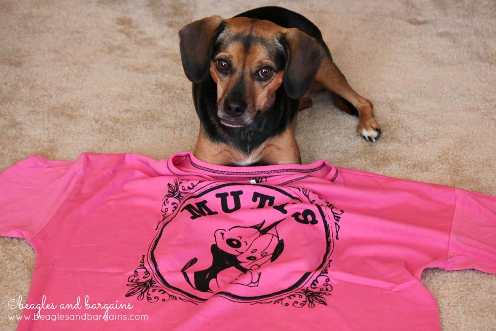 Luna models the new MUTTS nightshirt!