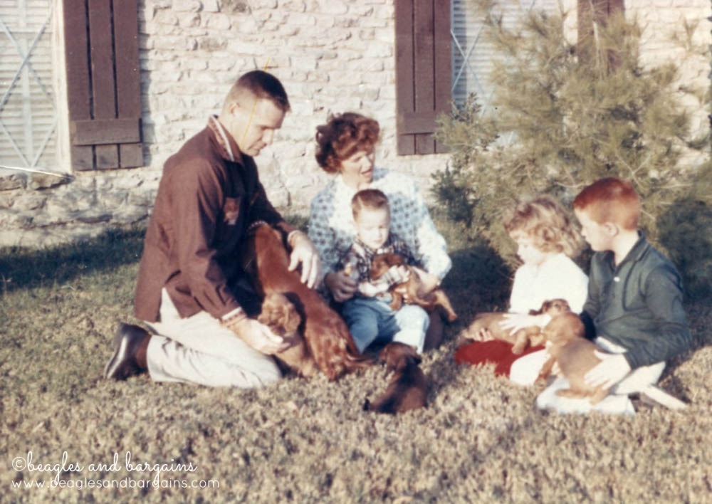 Grandpa Shipman and family with puppies