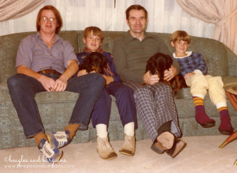 Grandpa Shipman and family with dachshunds