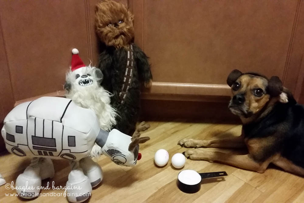 Princess Leia Luna spends time with her neighbors - Chewbacca, an Imperial Walker, and a Wampa from Star Wars
