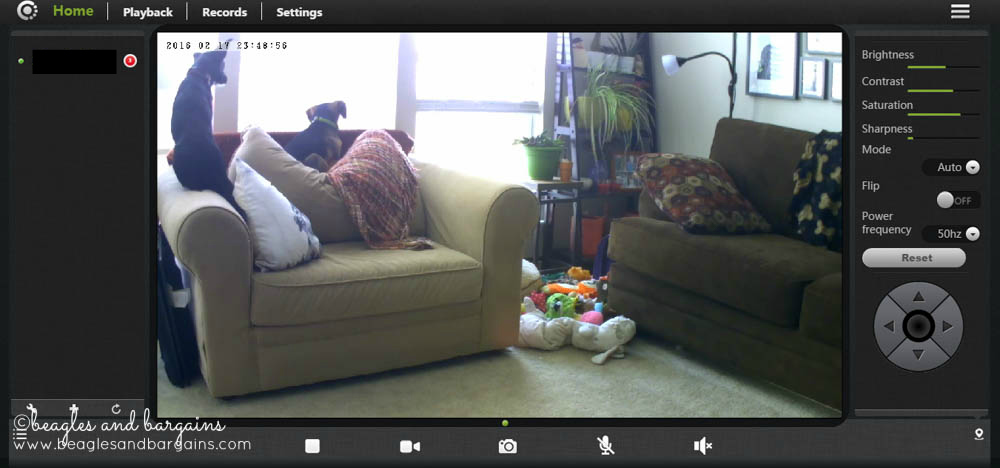 Vimtag Indoor Camera website controls and live view