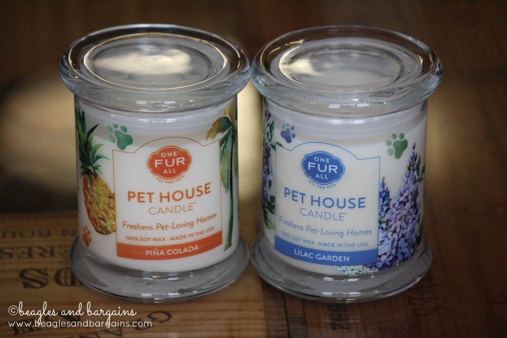 Pet House Candles from One Fur All in Lilac Garden and Pina Colada