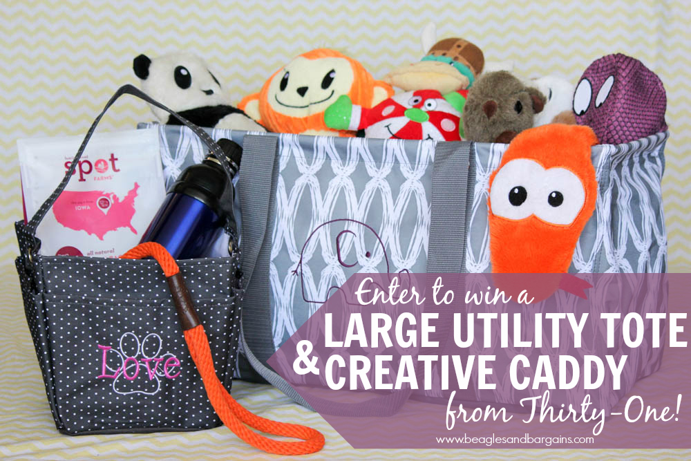 Enter to win Thirty-One Creative Caddy and Large Utility Tote with custom embroidery