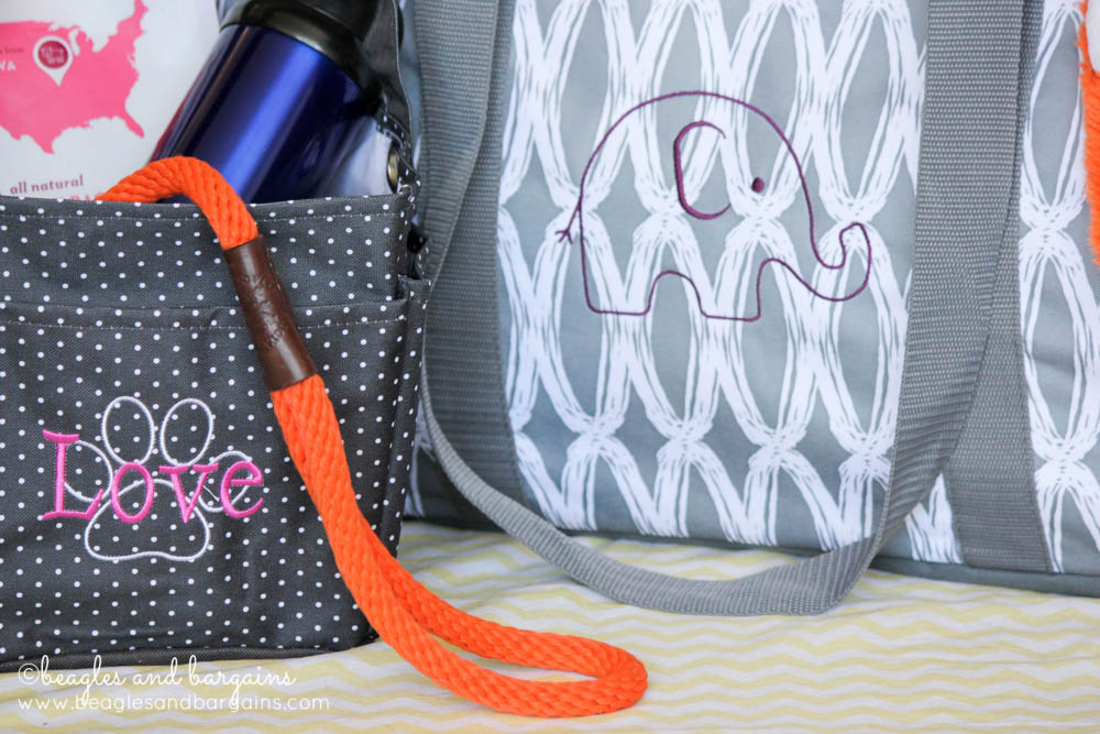 Thirty-One Creative Caddy and Large Utility Tote with custom embroidery