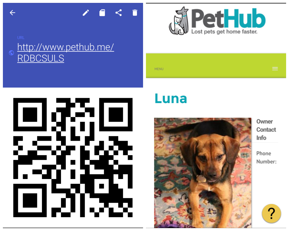 PetHub QR Code Dog Tags and Lost Pet Webpage