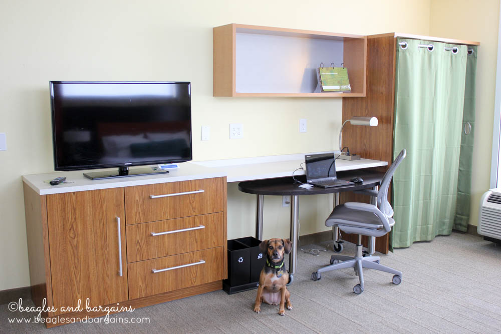 Lots of shelving, office space, and free WiFi is standard at Home2 Suites by Hilton.
