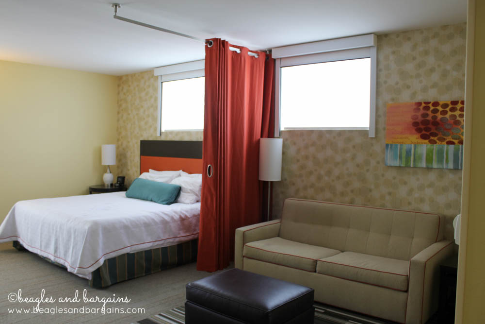A privacy curtain gives you the suite feel without the price at Home2 Suites by Hilton.