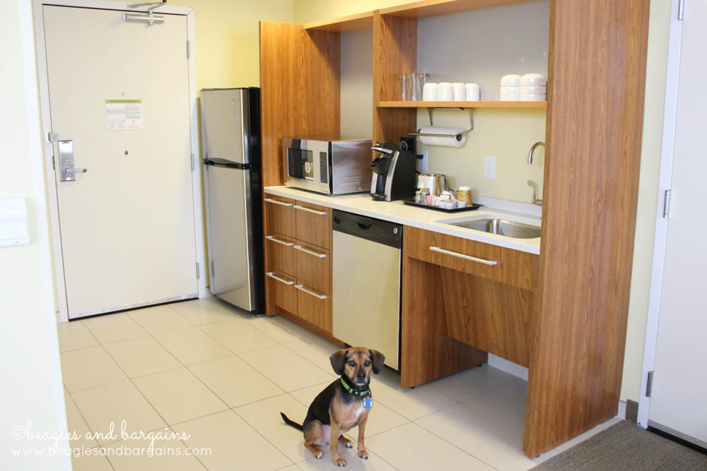A well stocked kitchenette is standard in Home2 Suites rooms.