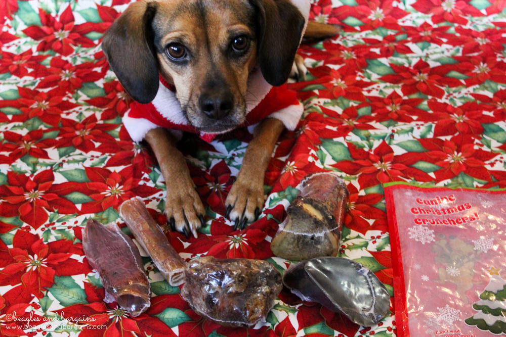 The Jones Natural Chews Christmas Crunchers Stocking is full of five different natural chews for dogs.