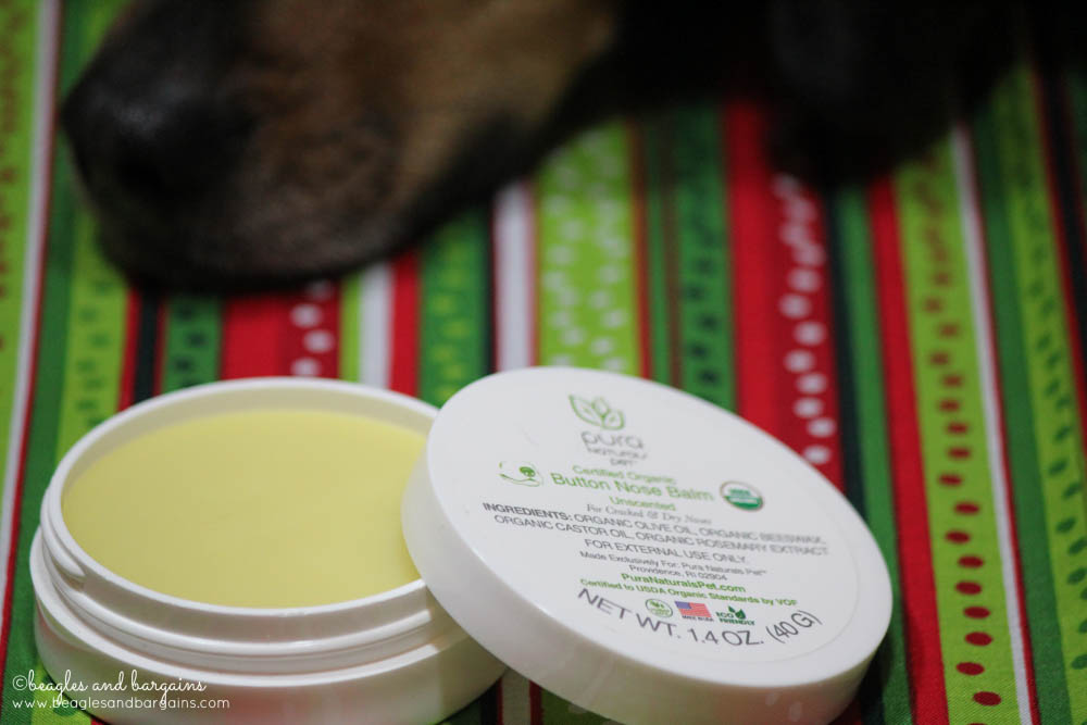 Pura Naturals Pet Nose Butter keeps dog noses moist and dry all winter long