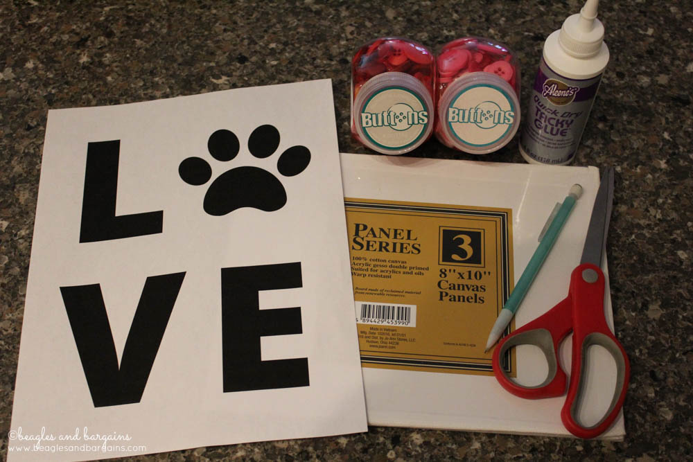 Supplies for a DIY Pet Inspired Button Art - Perfect Gift for Dog Moms - Valentine's Day