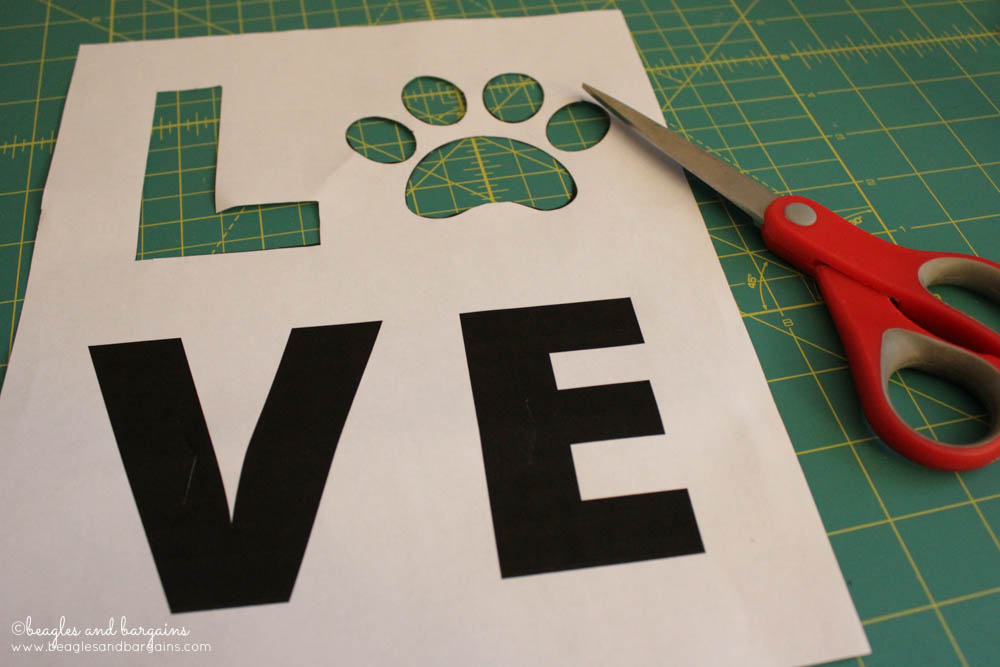 DIY Pet Inspired Button Art -  Step 1 - Cut out the Printable LOVE Template