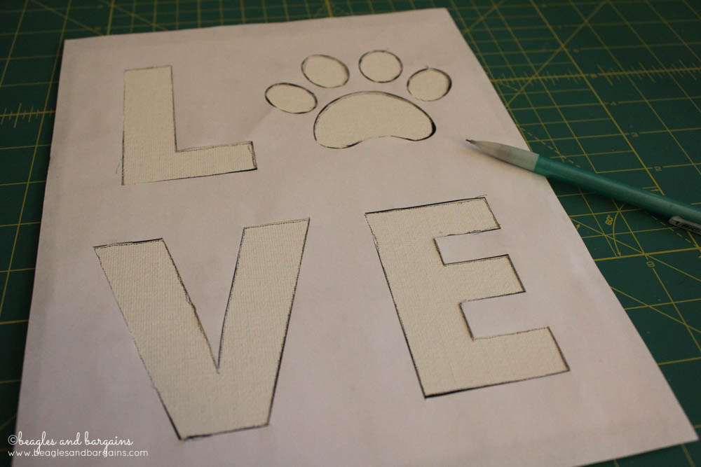 DIY Pet Inspired Button Art -  Step 2 - Trace your LOVE stencil onto your canvas panel