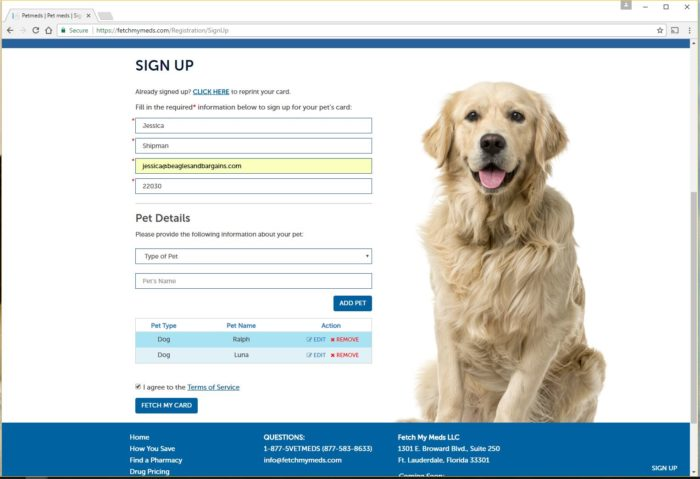Fetch My Meds Sign Up Page for Pet Prescription Discounts