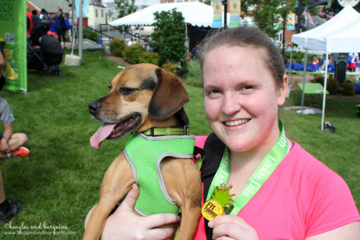 The Fit Foodie 5K is finished. Now time for Jessica & Luna to celebrate!
