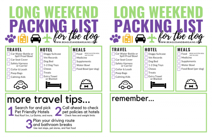 Long Weekend Packing List for Dogs
